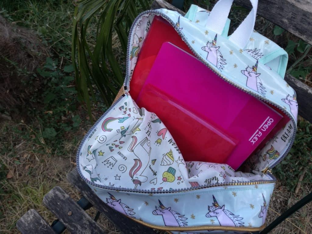 Tuto sac à dos pour la maternelle ouvert
