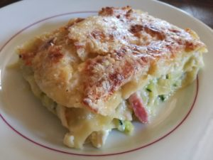 Recette des lasagnes aux courgettes chèvre lardons